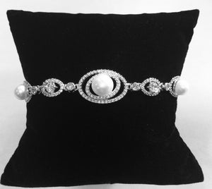 Pearl and Cubic  Zirconia Wedding Bracelet