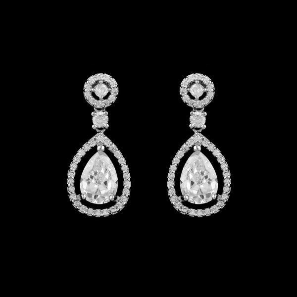 CZ Pave Tear Drop Wedding Earring