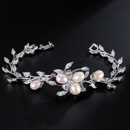 Bridesmaid Collection CZ Bracelet with Cultured Pearl