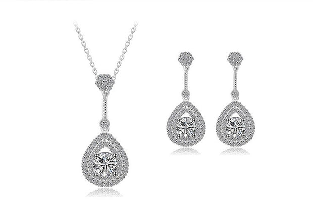 Graceful Zirconia Earring and Necklace Jewelry Set for Brides and Weddings