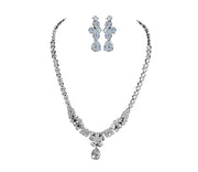 Cubic Zirconia bridal necklace and earring set