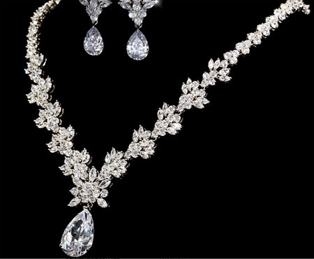 Bride AAA Cubic Zirconia Wedding Jewelry Necklace and Earring Set w/Dangling Pear Shape CZ