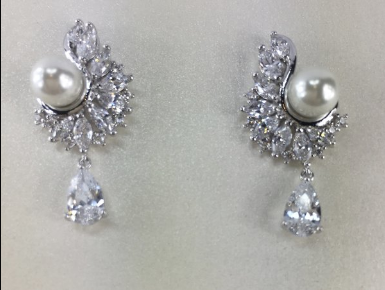 CZ Bridal Earring with Tear Drop and Pearl
