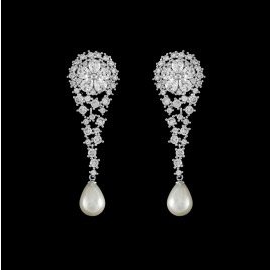 Elegant Bridal Dangling Earring with AAA Zirconia and Pearl for Brides, Weddings and Special Occasions