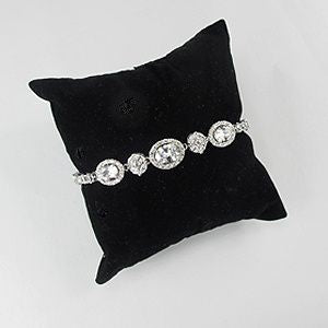 Cubic Zirconia Pave Oval and Round Bridal Bracelet
