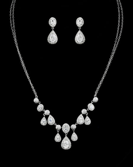 Pave and Zirconia Pear-Shaped, Teardrop Earring and Necklace Set for Brides, Weddings and Special Occasions