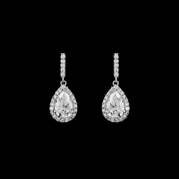 Graceful AAA Zirconia Pear-Shaped Pave Bridal Earring