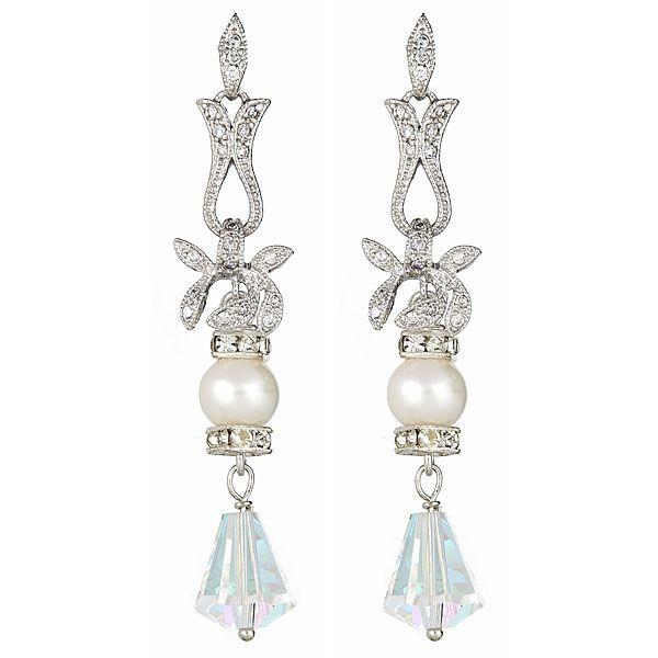 Silver Orchid Wedding Earrings with Swarovski Pearl and Rare Crystal