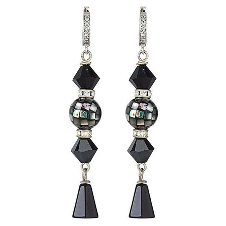 Black Mosaic Pearl with Swarovski, Black Onyx and Silver CZ Leverbacks