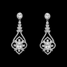 Classy, Stunning CZ Earrings Clip-On, Pave Wedding
