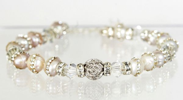 """Victoria"" Cultured Pearl Bracelet with Silver Filigree"