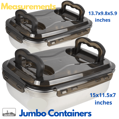 Image of Stainless Steel Food Containers BPA FREE Contenedores de Comida de Acero Inoxidavel Leakproof food preservation airtight good for baked goods Bread Sourdough and fermentation Kimchi Marinating meats set with 2 jumbo sizes  7.5 liters 263 oz 32 cups (13x10x6 inches) and 12 L 405oz 50 cups (15x11x7 inches)lid with 2 handles easy to carry easy to clean by JaceBox
