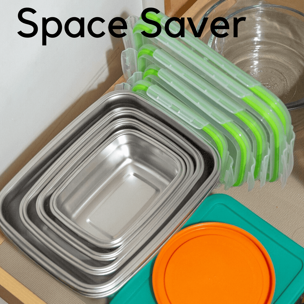 Jacebox Stainless Steel Tupperware set nest really nice inside each other saving space on your cupboard and kitchen . Stainless Steel 18/8 best know as 314 is the best stainless steel for food and beverages
