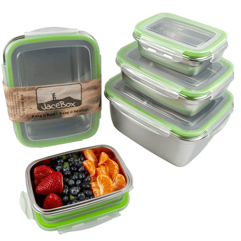 Image of Metal Tupperware Containers Set of 5 Superset  sizes xxlarge xlarge large medium small perfect for food storage to go containers lunch box school lunches and leftovers