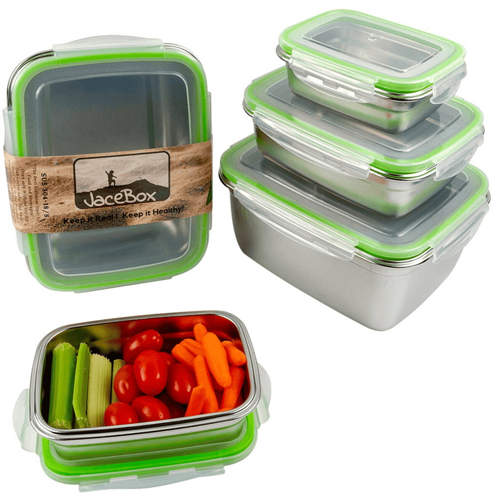 JaceBox Stainless Steel Freezer containers eco Friendly Reduce Reuse Recycle  Best Stainless Steel Bento Box To Go Containers Take Out food Kimchi Fermentation and baking goods