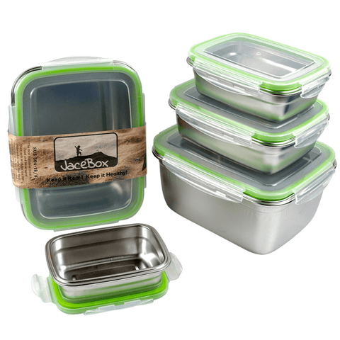 Image of JaceBox Superset of 5 sizes has more than 26 cups of capacity to help a whole family to store and preserve healthy food fruits and veggies xxlarge containers are perfect for fermentation the airtight lids are leakproof