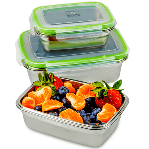 """ Heavy duty stainless steel with tight fitting lids. The box sizes are convenient for taking lunch and snacks to work. I had salad dressing in one and it didn't leak at all. Love these !""J. C. ----JaceBox Stainless Steel Lunchbox set"