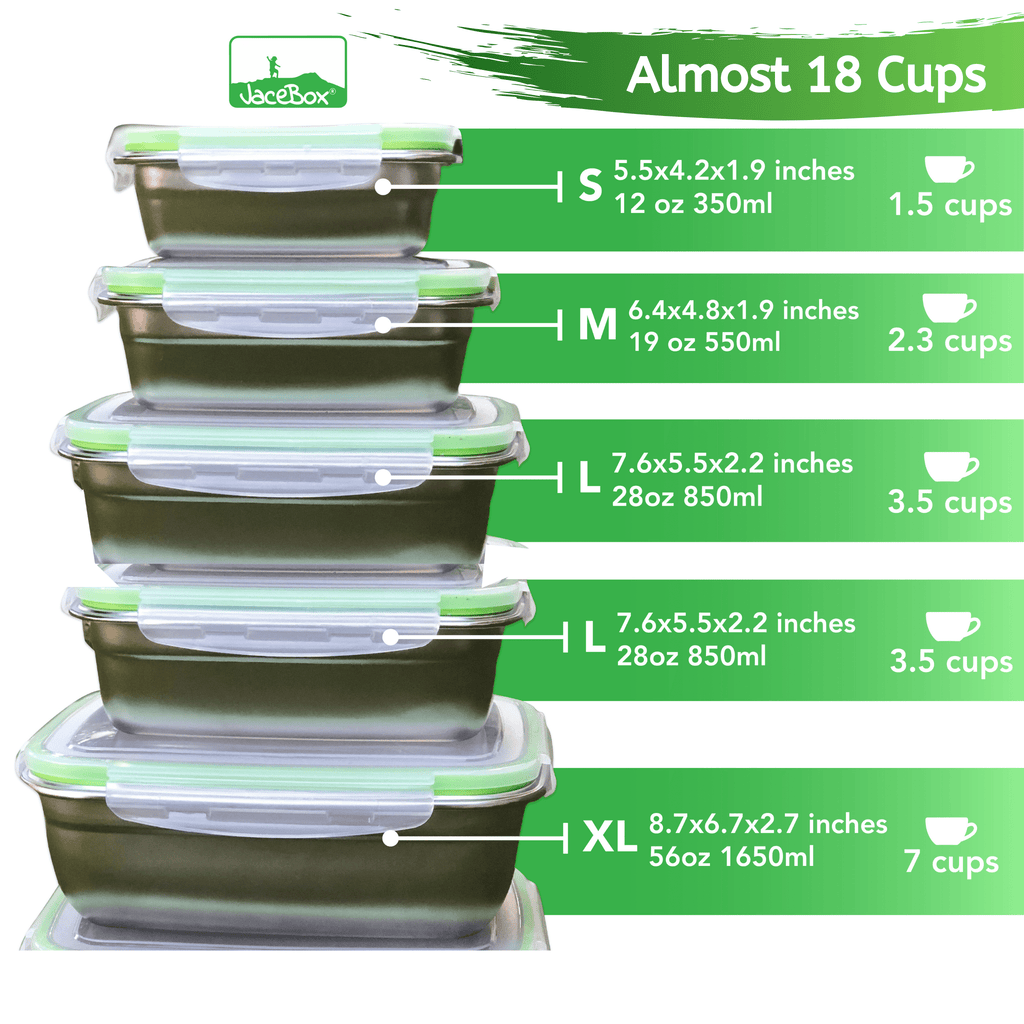Replacement Lid Set for Super Set of 5 Sizes Small Medium Large X-large XXLarge Jacebox Containers (ONLY LIDS)