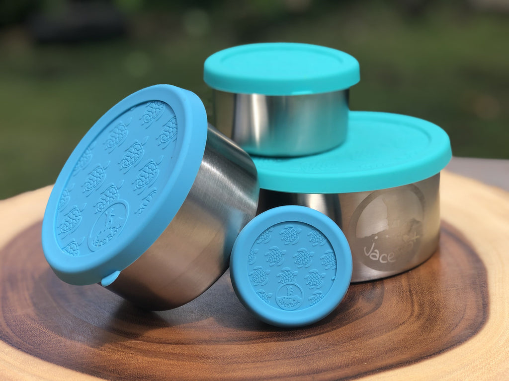 JaceBox Stainless Steel Snack Containers Set - Leakproof Lunch Containers for Lunchbox Blue & Green Turtle Silicone Lid PLASTIC FREE & BPA FREE - EASY to OPEN Flexible Unbreakable Lids! by JaceBox