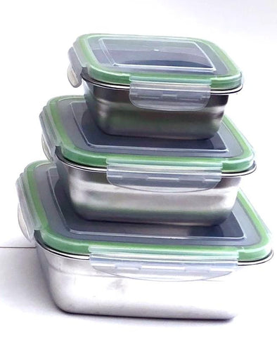 Image of Stainless Steel Bento Box Leak proof 3 sizes for salads sandwiches healthy food