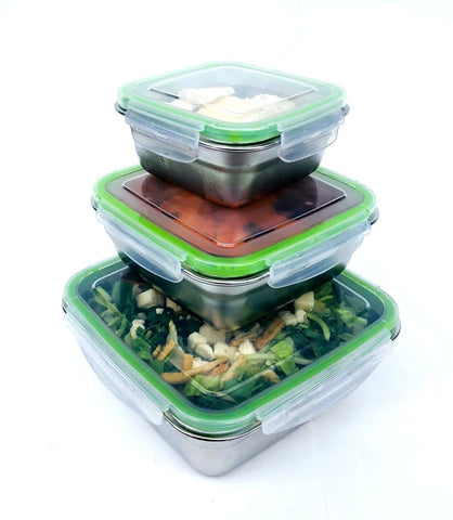 Image of Airtight Food Containers by Jacebox Square set of 3 sizes