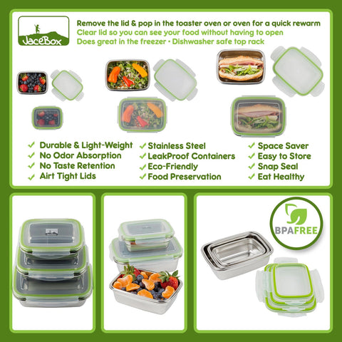 "Image of "" Heavy duty stainless steel with tight fitting lids. The box sizes are convenient for taking lunch and snacks to work. I had salad dressing in one and it didn't leak at all. Love these !""J. C. ----JaceBox Stainless Steel Lunchbox set"