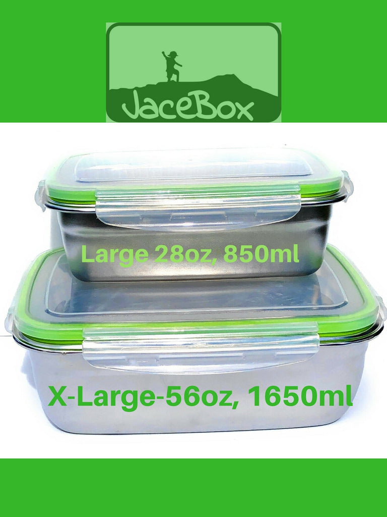 89887a78346b Jacebox Stainless Steel Lunch Containers -New X-Large and Large Lunch box,  BPA Free