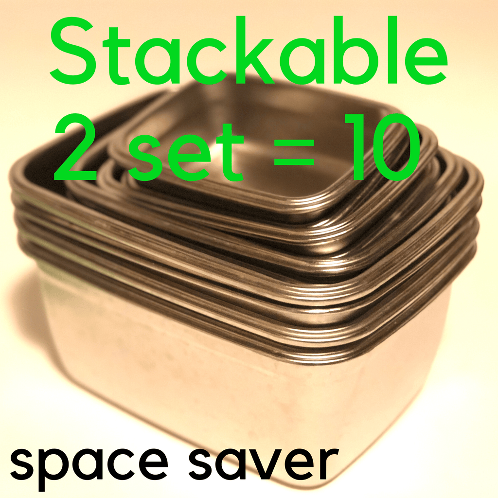 Jacebox Stackable 2 sets of 5 uses same space as one set of 5  just a bit more on the height stacks really well and saves space on your kitchen and cupboard