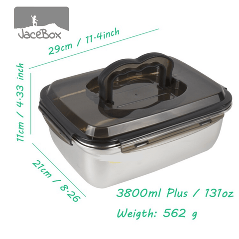 Image of Jacebox Jumbo Containers Handle lid capacity 3.8L / 131oz great for storing grains and rice leakproof airtight pantry containers great as a fishing accessory it can go straight to the cooler food containers meal prep containers kitchen organizing