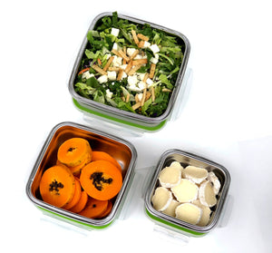 Keep Food Fresh and Toxins FREE Stainless Steel Containers light and easy Leakproof See Thru Lid