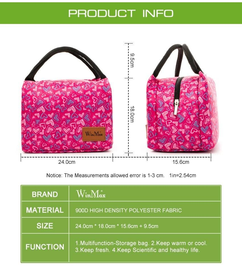 Lunch Box Fashion Prints Thermal and insulates Material. Great for a Lunch to go in Style