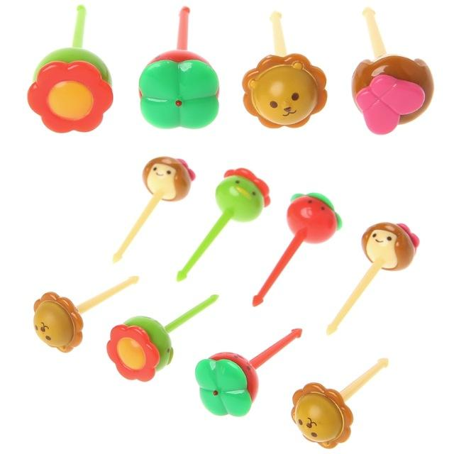 Animal Food Fruit Picks Forks Bento Lunch Box Decor Accessory 10pcs