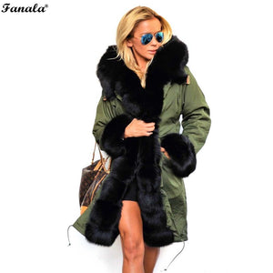 FANALA Women Winter Coats Faux Fur Women Jackets Real Large Fur Collar Thick Ladies Down & Parkas Coat Long Winter Coat Women
