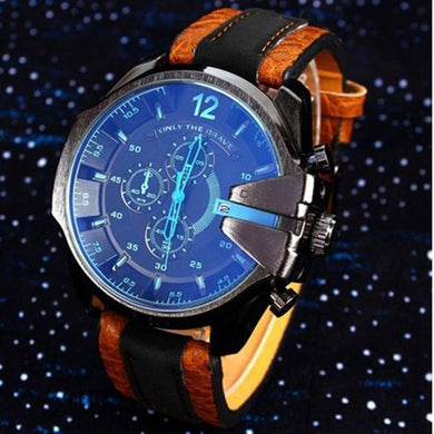 Men's Analog Sport Steel Case Quartz Dial Synthetic Leather Wrist Watch