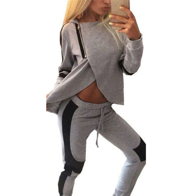 Plus Size S-3XL Women 2 Piece Set 2017 Autumn Sexy Tracksuits Patchwork Hooded Zipper Sweatshirts Pants Casual Clothes Hoodies