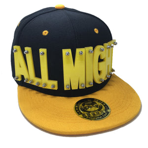 ALLMIGHT HAT IN BLACK WITH YELLOW BRIM