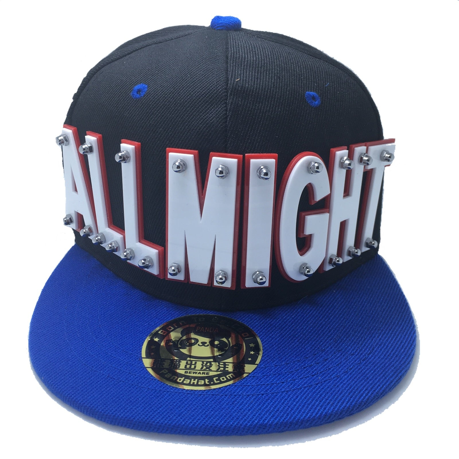 ALLMIGHT HAT IN BLACK WITH BLUE BRIM - Pandahat bf28e8a2960