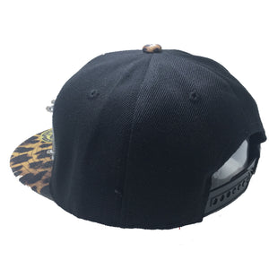 DADDY HAT IN BLACK WITH LEOPARD BRIM