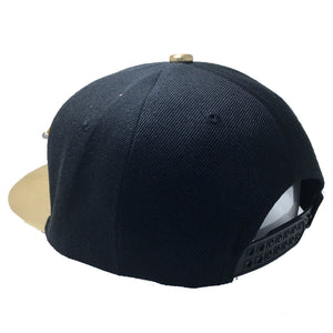 REBORN HAT IN BLACK WITH GOLD BRIM