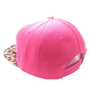 DADDY HAT IN PINK WITH LEOPARD BRIM