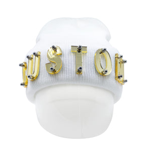 CUSTOM ACRYLIC LETTER BEANIE IN WHITE