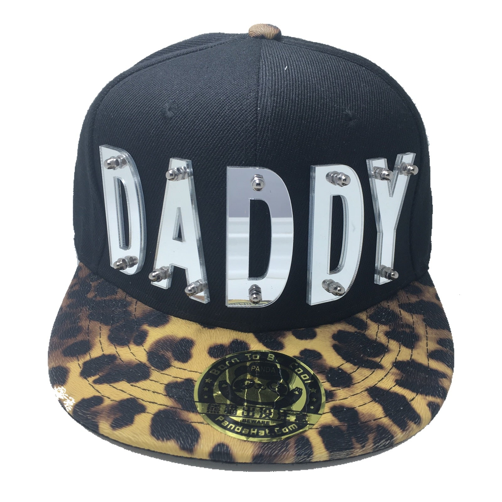 6d259ace40c DADDY HAT IN BLACK WITH LEOPARD BRIM - Pandahat