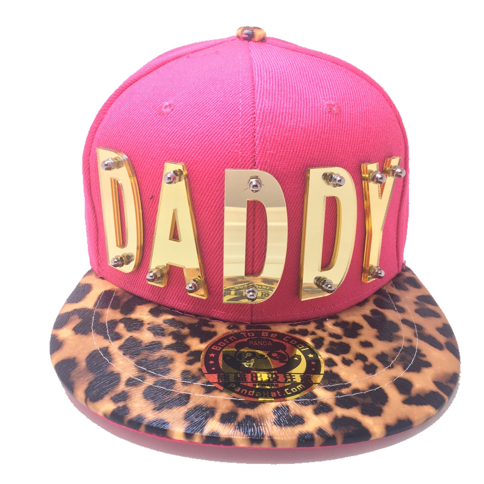909cf7493b2 DADDY HAT IN PINK WITH LEOPARD BRIM - Pandahat