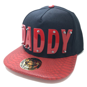 DADDY HAT IN BLACK WITH RED BRIM