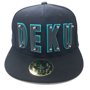 deku hat in black with sparkling green trim