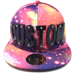 CUSTOM ACRYLIC LETTER HAT IN GALAXY RED