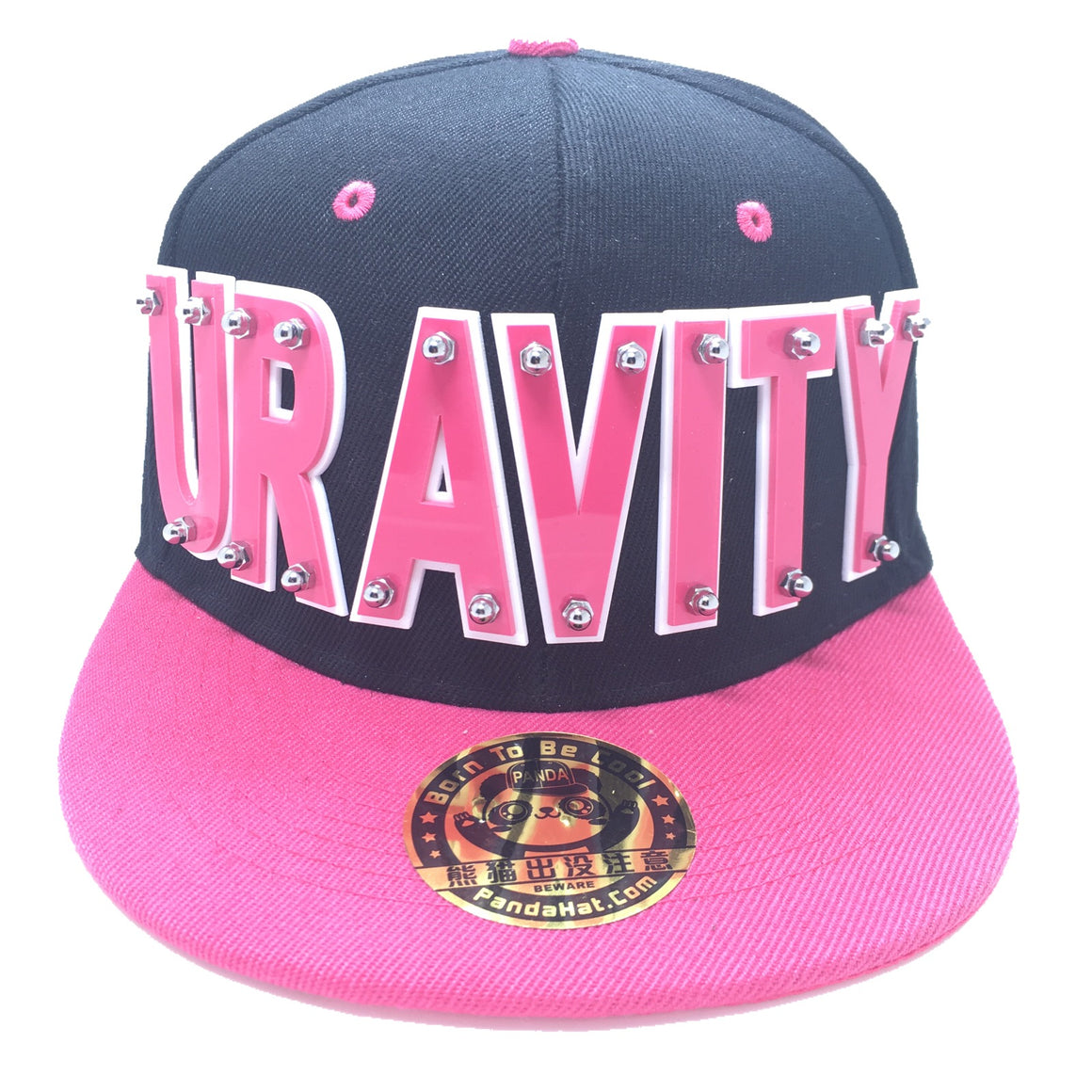 URAVITY HAT IN BLACK WITH PINK BRIM