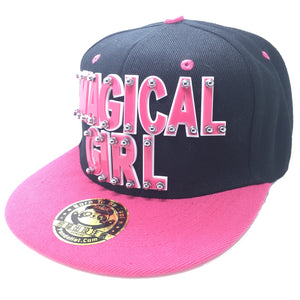 MAGICAL GIRL HAT IN BLACK WITH PINK BRIM