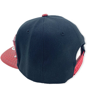 RED RIOT HAT IN BLACK WITH RED BRIM