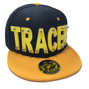 TRACER HAT IN BLACK WITH YELLOW BRIM